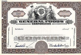 General Foods - General Foods 1937 Specimen Stock Certificate