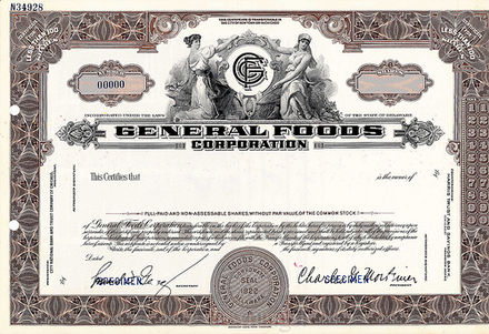 General Foods 1937 Specimen Stock Certificate General Foods 1937 Specimen Stock Certificate.jpg
