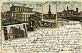 Gerhard Blümlein PC 0537 Gruss aus Hannover, Bildseite Königliches Theater; Ebhardtbrunnen; Welfenschloss, Technische Hochschule Altes Rathaus.jpg