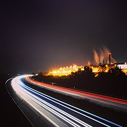 Long-exposure view of a road at night. Image: SimonWaldherr.