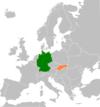 Lage von Deutschland und der Slowakei