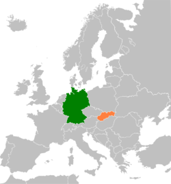 Map indicating locations of Germany and Slovakia