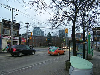 Regent Park - The intersection of Gerrard and Parliament Street, looking towards Regent Park. Both roads serve as boundary markers for Regent Park.