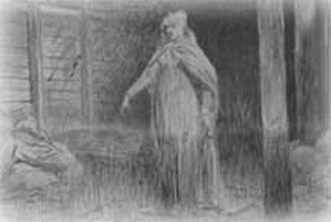 Red Barn Murder - Maria's ghost points to her grave. Ann Marten's claim that she dreamed about the location of Maria's grave added to the appeal of the case for the public and press.