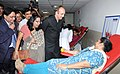 """Ghulam Nabi Azad interacting with the blood donors, at the inauguration of the Voluntary Blood Donation Camp and the """"Sensitization Workshop on Blood Safety– (Safe blood for All)"""" on the occasion of the National Voluntary.jpg"""