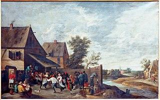 Fête de village avec joueur de cornemuse sur un tonneau