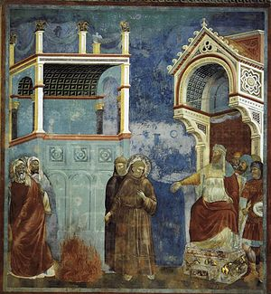 Giotto di Bondone - Legend of St Francis - 11. St Francis before the Sultan (Trial by Fire) - WGA09132.jpg
