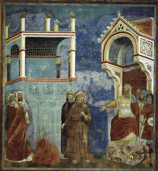 File:Giotto di Bondone - Legend of St Francis - 11. St Francis before the Sultan (Trial by Fire) - WGA09132.jpg