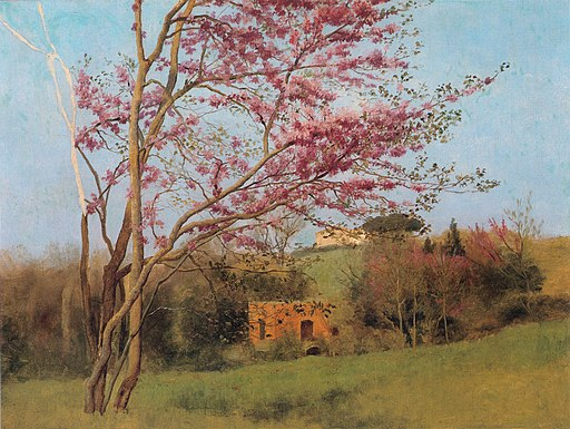Godward-Landscape Blossoming Red Almond (study)-c. 1912