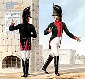 Print showing two troopers of the French 10th Dragoon Regiment in green coat with crimson facings, white breeches, and black boots.