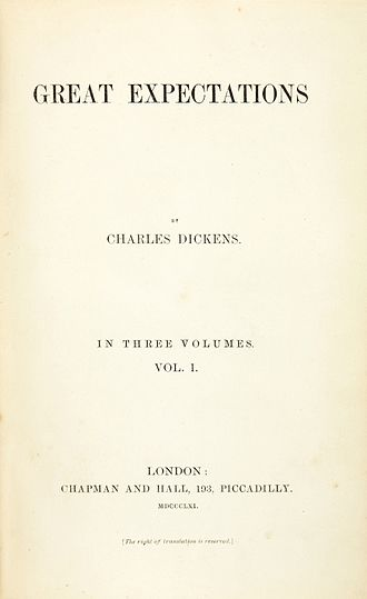 Great Expectations - Title page of Vol. 1 of first edition, July 1861