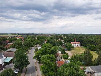 Großbeeren - View from the Battle of Großbeeren Memorial Tower, north towards the village church.  Berlin's skyline in the background.