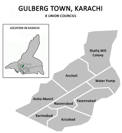 Union councils of Gulberg Town, Karachi.