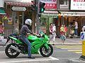 HK Wan Chai Stewart Road Kawasaki Ninja Motorbike in green BN2185.JPG