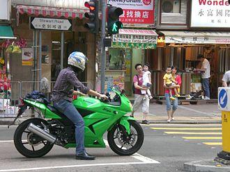 Kawasaki Ninja 250R - Image: HK Wan Chai Stewart Road Kawasaki Ninja Motorbike in green BN2185