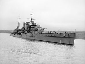 HMS Exeter after refit 1941 IWM A 3553.jpg