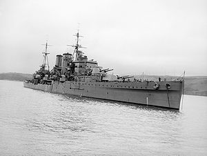 RMS Arlanza (1912) - Image: HMS Exeter after refit 1941 IWM A 3553