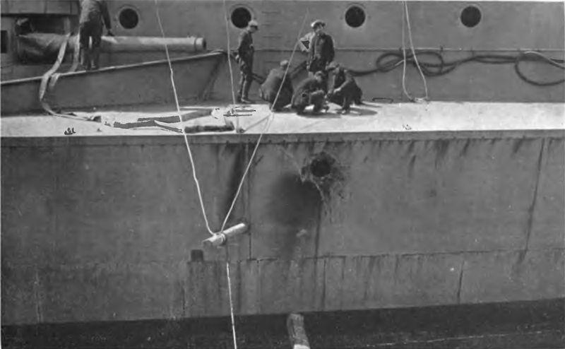 File:HMS Warspite Jutland damage shellhole boys mess deck.jpg
