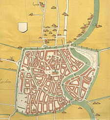 Map of Haarlem, the Netherlands, of around 1550. The city is completely surrounded by a city wall and defensive canal. The square shape was inspired by Jerusalem.