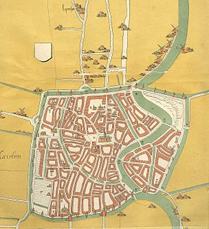 Siege of Haarlem - City map of Haarlem around 1550. The city is completely surrounded by a city wall and defensive canal.