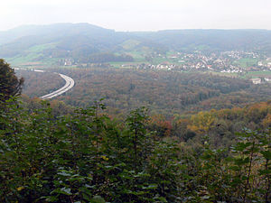 Habsburg, Switzerland - View from the Habsurg Castle to Bötzberg and the Swiss highway A3