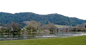 Hakarimata Range - The Hakarimata range is visible in the background, with the Waikato River passing through Ngaruawahia in the foreground.