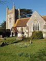Hambleden Church with snowdrops - geograph.org.uk - 692231.jpg