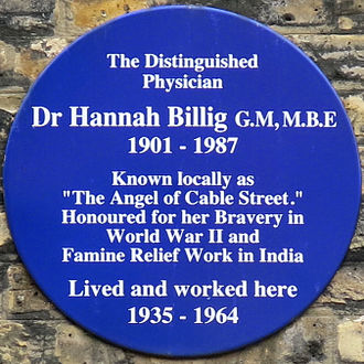 Cable Street - Image: Hannah Billig blue plaque