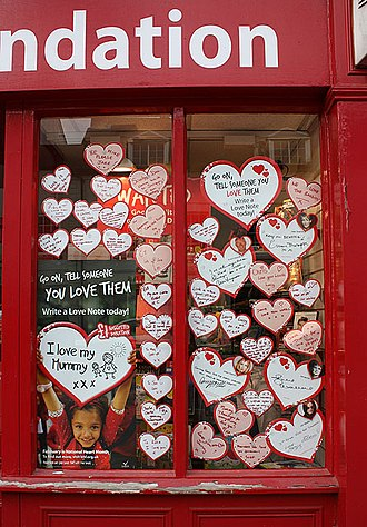 British Heart Foundation - Valentine's Day shop window display in Monmouth, Wales.
