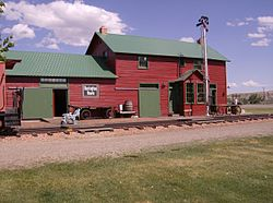 Former train depot, originally from Lodge Grass, now featured among other buildings at the Big Horn County Historical Museum in Hardin.