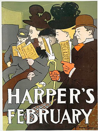 Essay - An 1895 cover of Harpers, a US magazine that prints a number of essays per issue.
