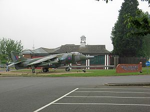 RAF Wittering - Station guard room and Harrier gate guardian.