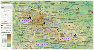 Topographic map of the Harz