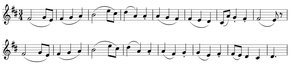 Symphony No. 93 (Haydn) - The principal theme of the first movement. The theme enters in the 21st measure of the movement, after an Adagio introduction.