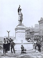 Haymarket Square police memorial (1889 photo)