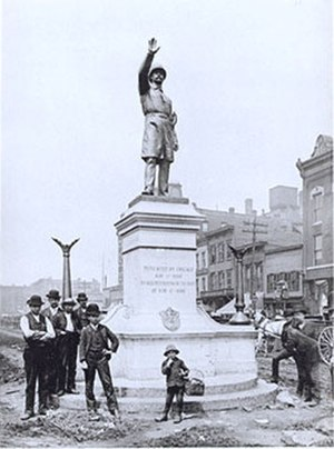 Weather Underground - The Haymarket Square police memorial, seen in 1889