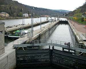 Lock (water navigation) - Lock on the River Neckar at Heidelberg in Germany