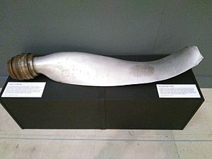 Heinz Schnabel & Harry Wappler escape attempt, 1941 - Propeller from Wappler's Heinkel He 111, the first enemy bomber to be brought down by barrage balloon during the second world war, Newport Museum Art Gallery.