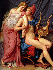 An oil painting, depicting a standing, partially-clothed woman (left) leaning on a nude man (right) sitting holding a lyre.