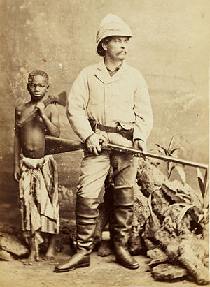 "Henry Morton Stanley's first trans-Africa exploration - Stanley posing later (in London) with Kalulu in the ""suit he wore"" when he found Livingstone."