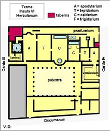 Plan des thermes d 39 herculanum avec sections masculine for Bathroom traduction