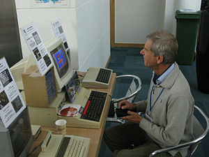 BBC Micro - Acorn co-founder Hermann Hauser playing a game on a Master in 2012