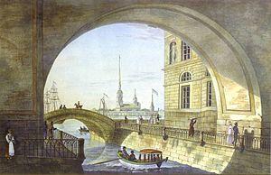 Hermitage Bridge - View on Hermitage Bridge towards Neva River. Lithograph, 1820