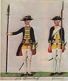 Print shows two soldiers in dark blue coats, yellow lapels and waistcoats, white breeches and gaiters, and tricorne hats. The officer of the left holds a half-pike while the private on the right holds a musket.