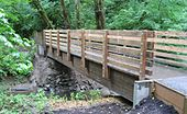 A wooden footbridge about 3 feet (1 m) wide and 30 feet (9.1 m) long spans a small stream flowing through a forest.
