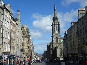 Royal Mile - View looking east down the Royal Mile past the old Tron Kirk