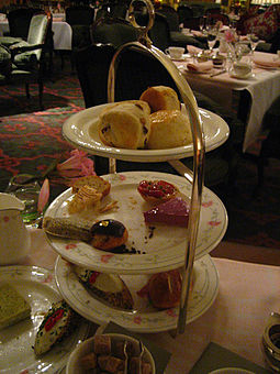 Afternoon tea at the hotel High tea at the Savoy Hotel.jpg