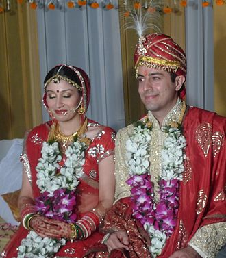 Hindu wedding - Hindu wedding with the bride and groom in traditional dress.