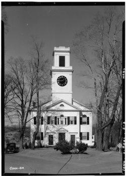 Historic American Buildings Survey Everett H. Keeler, Photographer March 16, 1938 ELEVATION (South) - Rocky Hill Congregational Church, Church and Main Streets, Rocky Hill, HABS CONN,2-ROHI,5-3.tif