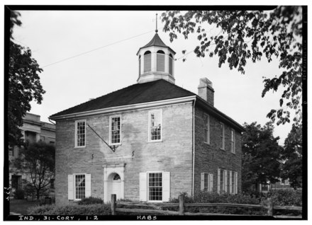 Indiana's Capitol Building in Corydon served as the state's seat of government from 1816 until 1825. Historic American Buildings Survey Lester Jones, Photographer May 24, 1940. VIEW FROM SOUTHWEST - First State Capitol, Corydon, Harrison County, IN HABS IND,31-CORY,1-2.tif